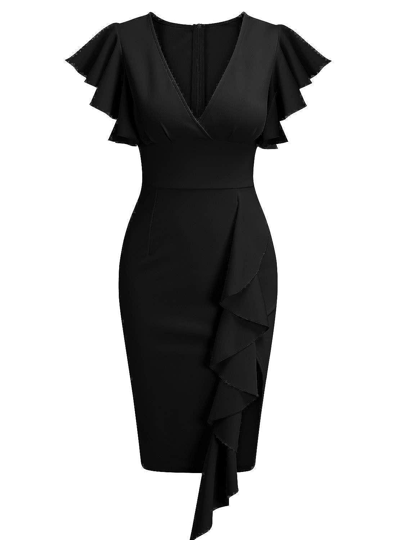 3babc7f458dfe Knitee Women's Deep-V Neck Ruffle Sleeves Cocktail Party Pencil Slit Dress
