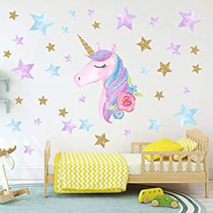 AIYANG Unicorn Wall Stickers Rainbow Colors Wall Decals Reflective Wall Stickers for Girls Bedroom Playroom Decoration (Stars,Left)
