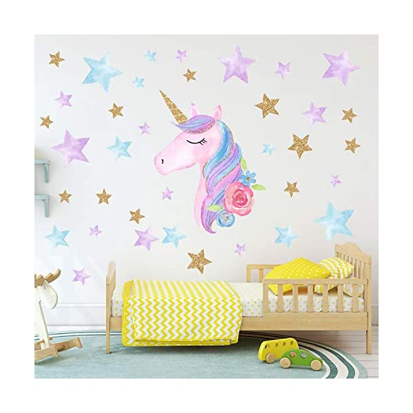 AIYANG Unicorn Wall Stickers Rainbow Colors Wall Decals Reflective Wall Stickers for Girls Bedroom Playroom Decoration (Stars,Left) 4