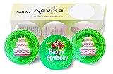 Navika Golf Balls- Happy Birthday Imprint on Green Metallic Chrome High Visibility Color (3-Pack)