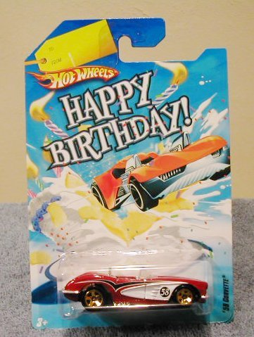 Amazon Com Hot Wheels Happy Birthday Cars 58 Corvette Red Toys Games