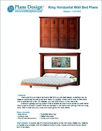 Mission Murphy Horizontal Side King Wall Bed Frame Woodworking Plans 1khwb Amazon Com