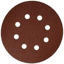Bosch SR5R122 Random Orbit Sander Hook and Loop 8 Hole Disc 5-Inch 120 Grit Sand Paper, Red, 25-Pack