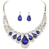 Necklaces Women Mixed Style Bohemia Crystal Earrings Set Pendant Charm Jewelry Blue