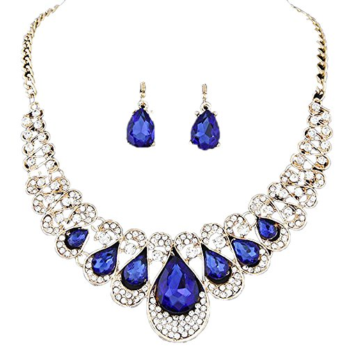 Gbell Womens Girls Bohemia Color Bib Alloy Chain Necklace Earrings Jewelry Pendant 2Pcs/Set,48×5CM,Mixed Jewelry Style (Blue)