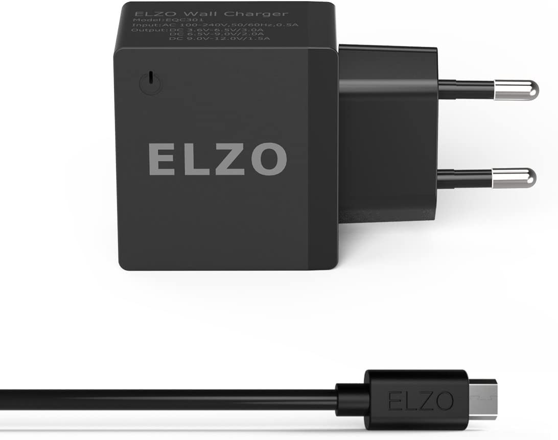 ELZO QC 3.0 Cargador Rápido 18W USB Quick Charger 2.4A para HTC One A9, LG G6 / V20, Samsung S7 Plus / S7 / S7 Edge, Huawei Mate 9, Sony Xperia, Más Móviles y Tablets con QC 3.0 o QC 2.0.