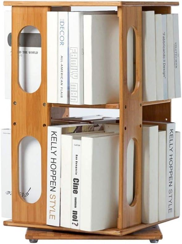 TIAN Multi-Function 360° Rotating Bamboo Bookshelf Adjustable Vertical Bookcase Storage Cabinet Divider Unit Storage Lockers