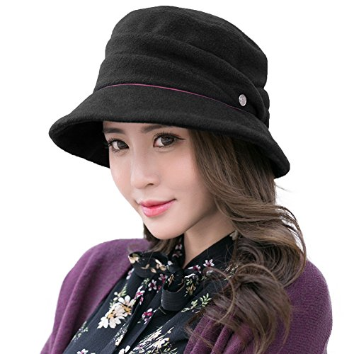 SIGGI Wool Felt Cloche Hat for Women Winter Hat Black Ladies 1920s Vintage  Derby Church Bowler c12841da655