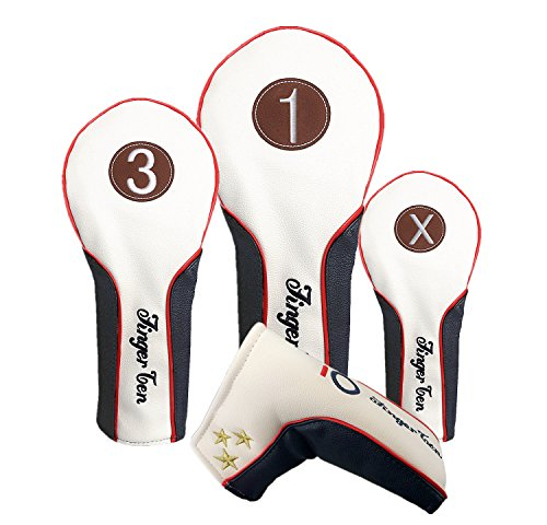 Piece Set Headcover 3 (New Golf Head Covers Wood Driver Fairway Rescue Putter Club Set, Deluxe Synthetic Leather 1 3 X Headcover for Men Women, Fit 460CC Taylormade Callaway Titleist Ping Nike Yamaha (3 Piece Set(#1, 3, X)))