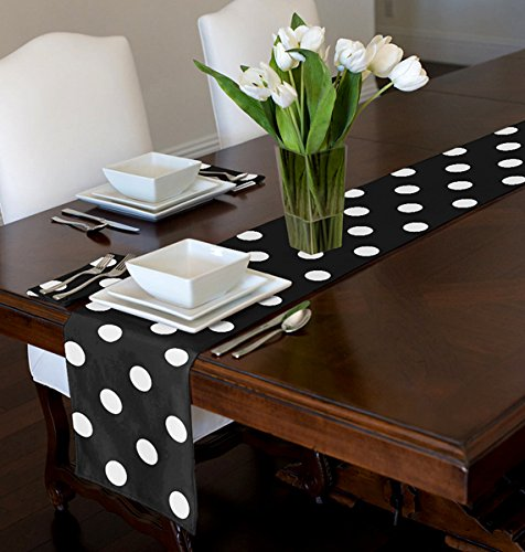 A LuxeHome Black and White Modern Contemporary Large Polka Table Runner Mat Topper 12