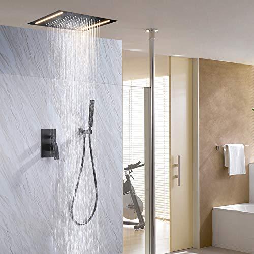 Amazon.com: Contemporáneo LED grande cuadrado lluvia ducha ...