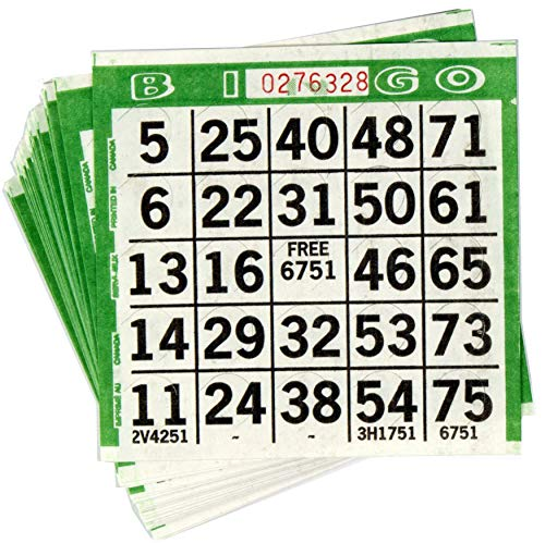 Abbott Products 1 On Punchout Bingo Cards (250ct) Push Out Bingo Cards (Dark Green)