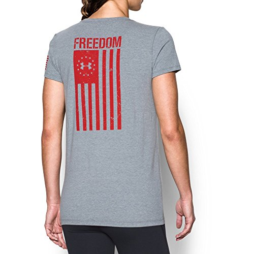 - Under Armour Women's Freedom Flag T-Shirt,Steel Light Heather /Red, Large