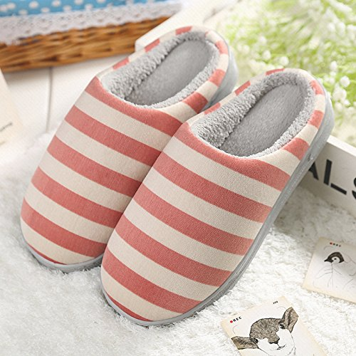 Aemember Male Cotton Slippers Slippers Lovers Home Warm Winter Indoor Antiskid Thick Bottom Anti-Skid Slippers In Winter,Hint: The Size Is Small,Wine Red (Ban - Red Ban