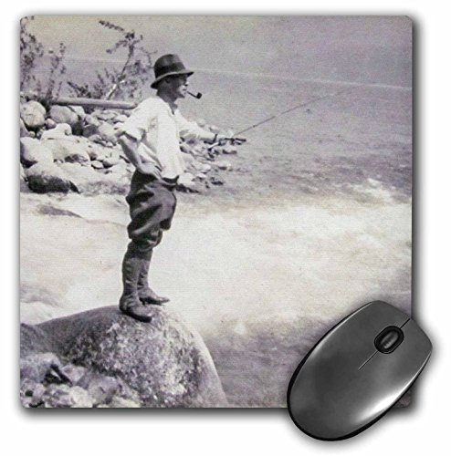 3dRose Scenes from the Past Magic Lantern Slides - Vintage Fly Fishing for Salmon in Edinburg Scotland Hand Colored - MousePad - In Edinburg