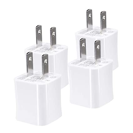 Txrich USB Wall Charger, 5V/1A 4-Pack (ETL Listed) Wall Charger Brick Base Adapter Charging Block Charger Cube Plug Charger Box. (White)