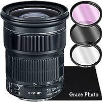 Canon EF 24-105mm f/3.5-5.6 IS STM Zoom Lens Bundle for Canon DSLR Cameras (White Box)