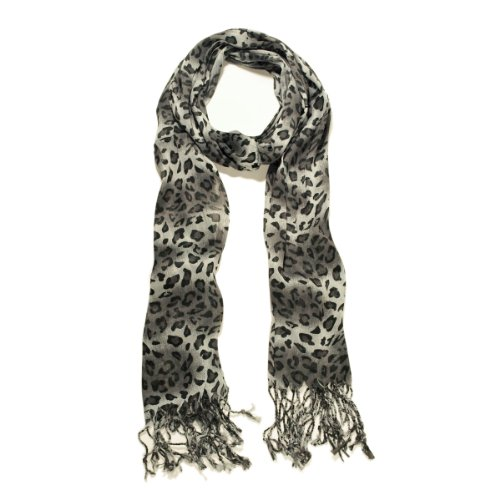 Elegant Leopard Animal Print Scarf with Fringe, Black