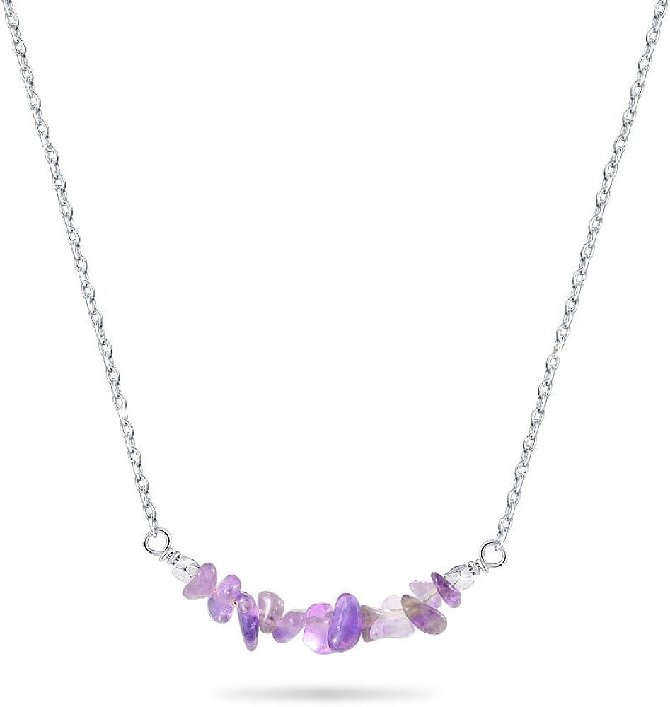 Cheerslife Collar Colgante de Piedras Preciosas - Collar Cristal de Cuarzo Naturales de curacion para Mujeres 18 Inches, Plata/Oro