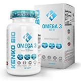 Premium Omega 3 Fish Oil Supplements 2000 mg Serving Softgel Capsules Best Source of Pure 800 mg EPA 600 mg DHA Fatty Acids No Aftertaste NON-GMO NSF Certified Kenko Bio Review
