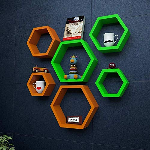 Artesia Wooden Hexagon Shape Wall Shelf  Orange