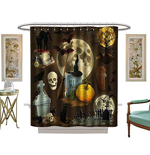 Shower Curtains 3D Digital Printing Clip Art s for Halloween Celebration Bathroom Set with Hooks Size:W72 x L72 inch ()