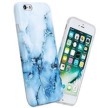 "iPhone 6s Plus / 6 Plus Case, 5.5"" Slim-fit Anti-Scratch Shock Proof Anti-Finger Matte Pattern Soft Flexible TPU Case For iPhone 6 6s Plus, White Blue Marble Design"