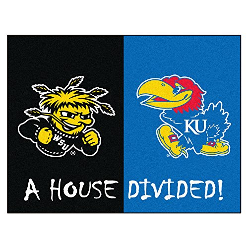 NCAA House Divided - Wichita State/Kansas House Divided Non-Skid Mat Rectangular Area Rug