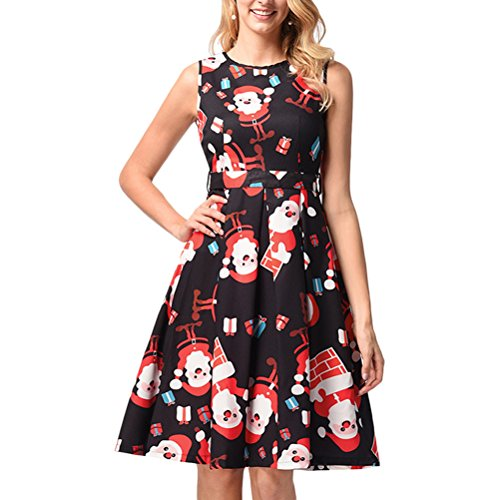 類似性三スラムZhhlinyuan ファッション かわいい Novelty Christmas Dress Costume Print Vest Sleeveless Casual Party Dresses for Women Elegant