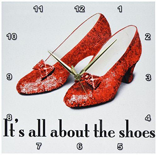 3dRose dpp_108339_2 Its All About The Shoes, Ruby Slippers Wizard of Oz-Wall Clock, 13 by ()