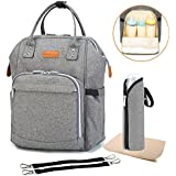 Diaper Bag Multi-Function Travel Backpack Nappy Bags, Nappy Tote Bag/Stroller Straps for Baby Care, Large Capacity, Stylish and Durable, Newborn Gifts 300D Linen Gray (Linen Gray)