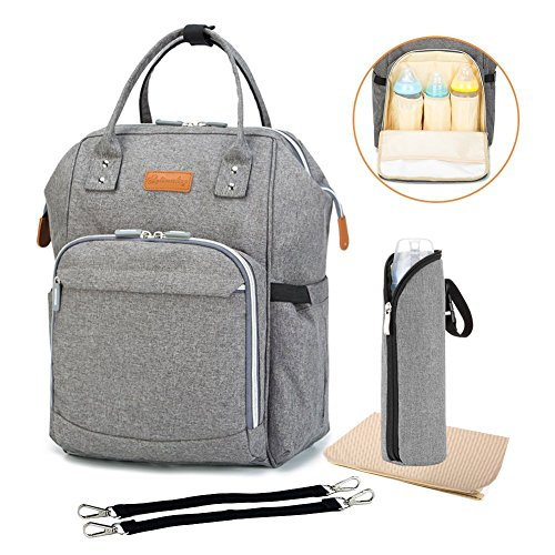 Diaper Bag Multi-Function Travel Backpack Nappy Bags, Nappy Tote Bag / Stroller Straps for Baby Care, Large Capacity, Stylish and Durable, Newborn Gifts 300D Linen gray (300D Linen gray) (Baby Stroller For Newborn)