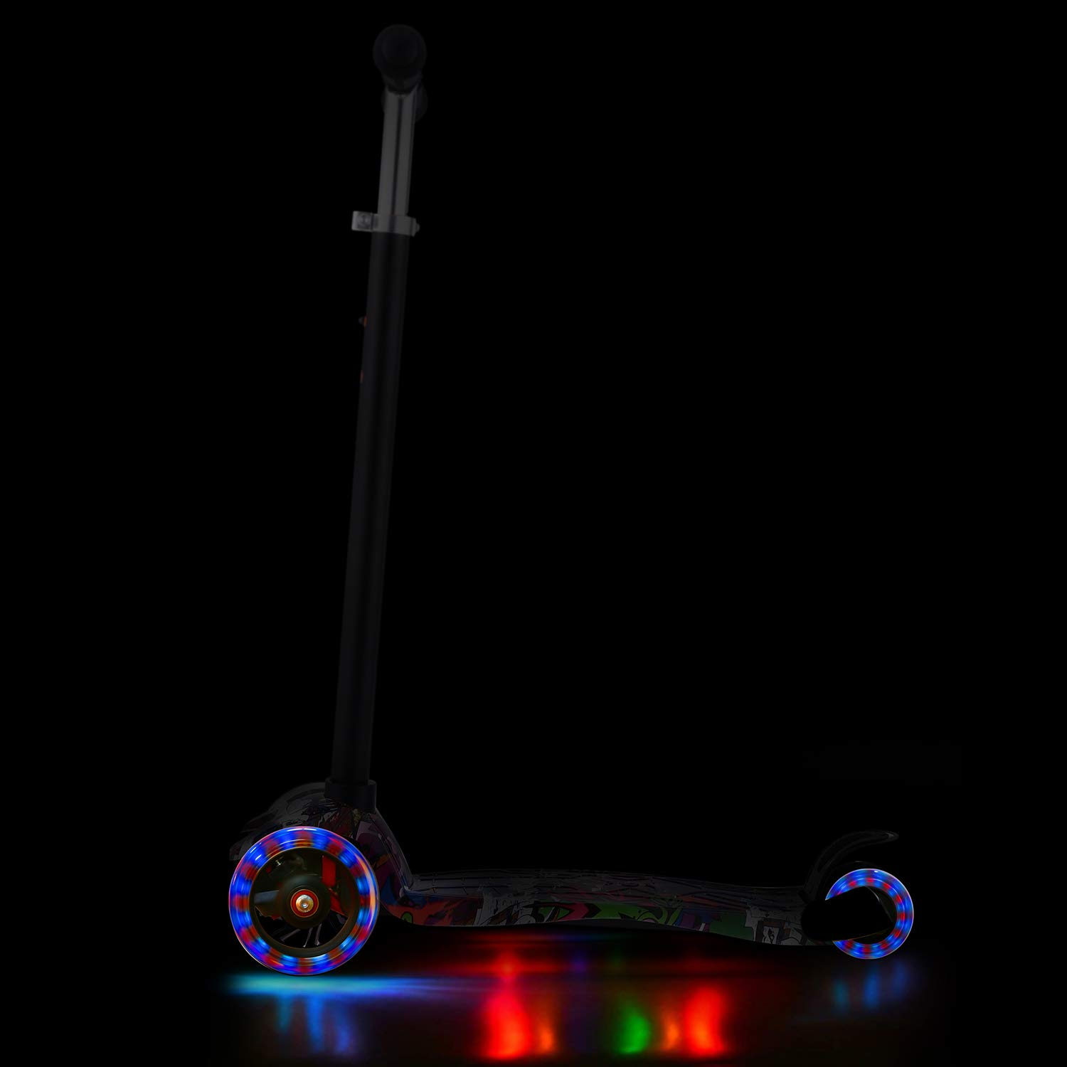 4 Adjustable Height Boys Girls Aceshin Mini Cool Kick Scooter for Kids 3 Wheel Lean to Steer LED Light-Up