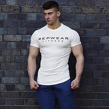 NUASH Nueva Camiseta de Verano Algodón Gimnasio Fitness Camiseta de los Hombres Camiseta Deportiva Estampado de Manga Corta Camiseta para Correr XXL Blanco: Amazon.es: Deportes y aire libre