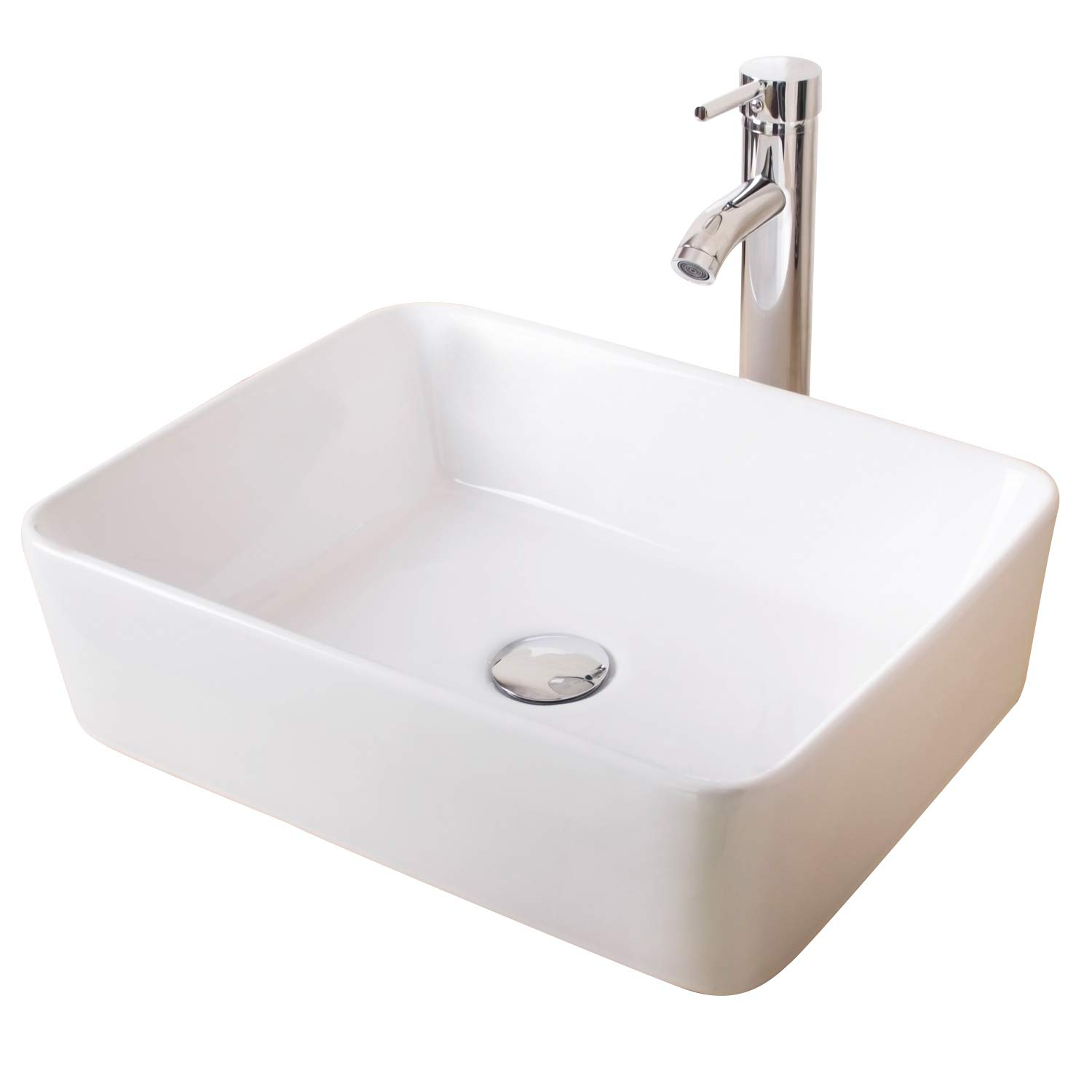 Walcut USBR1028 Bathroom Rectangle White Lavatory Porcelain Ceramic Vessel Vanity Sink Art Basin & & Chrome Faucet