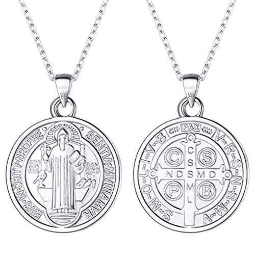 FaithHeart S925 Saint Benedict Pendant Necklace Sterling Silver Religious Christian Fine Jewelry for Women/Men, Customize Available (Send Gift Box)
