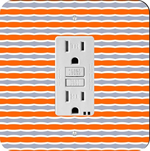 Rikki Knight Orange and Grey Swirly Stripes Single GFI Light Switch (Swirly Stripe)