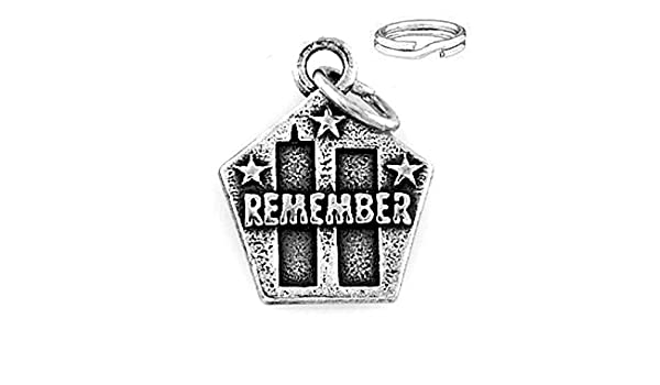 STERLING SILVER REMEMBER 9-11-01 CHARM WITH SPLIT RING
