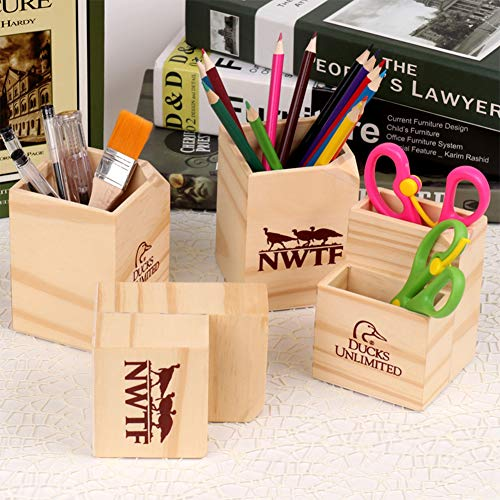 Alician Wooden Pen Holder Pencil Case Office Staionary Organizer for Computer Desk Single Dinosaur Office Products