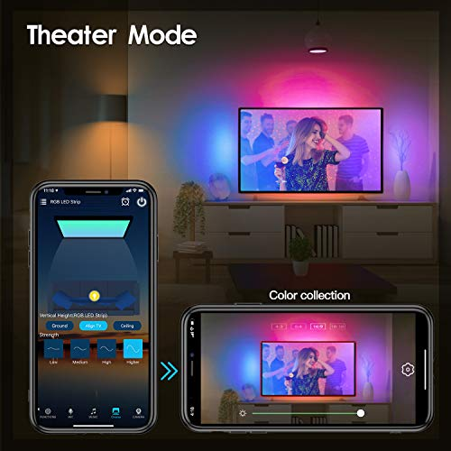WiFi Strip Light 16.4ft RGB SMD 5050 150LEDs IP65 Waterproof with 12V UL Power Supply and Remote Controller, Compatible with Alexa Google Home and Siri