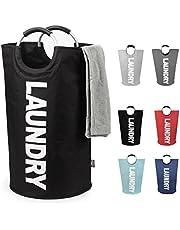 DOKEHOM 82L Large Laundry Basket (6 Colors), Collapsible Laundry Bag, Foldable Laundry Hamper, Folding Washing Bin (Black, L)