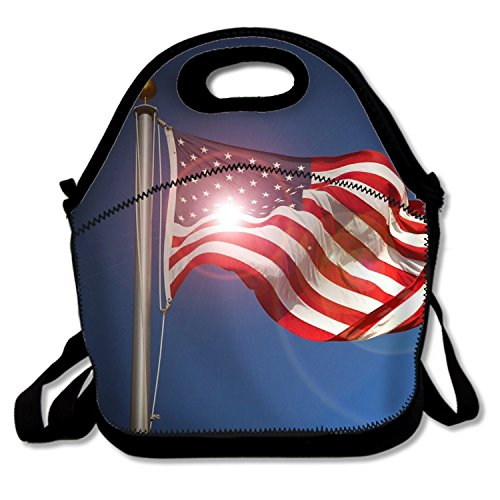 - phjyjy Lunch Bag American Flag Sunrise Picnic Bags Multi-purpose Container with Adjustable Crossbody Strap