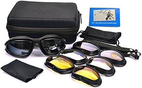UIM-Shop Polarized Field Motorbike Driving Riding Ski Goggles Glasses Padded Motorcycle Mirrors Set Black Frame with 4 pair of Lenses