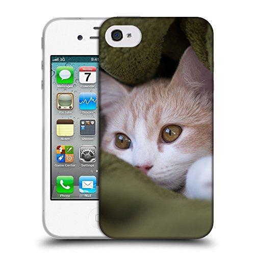 Just Phone Cases Coque de Protection TPU Silicone Case pour // V00004262 chaton Beige cache dans une couverture // Apple iPhone 4 4S 4G