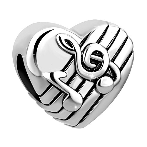 Charmed Craft Love Music Note Charms Charm Beads Snake Chain Bracelets (Silver Tone -