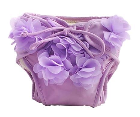 [Púrpura] pañales de baño para bebé reutilizables Traje de baño infantil para nadar precioso