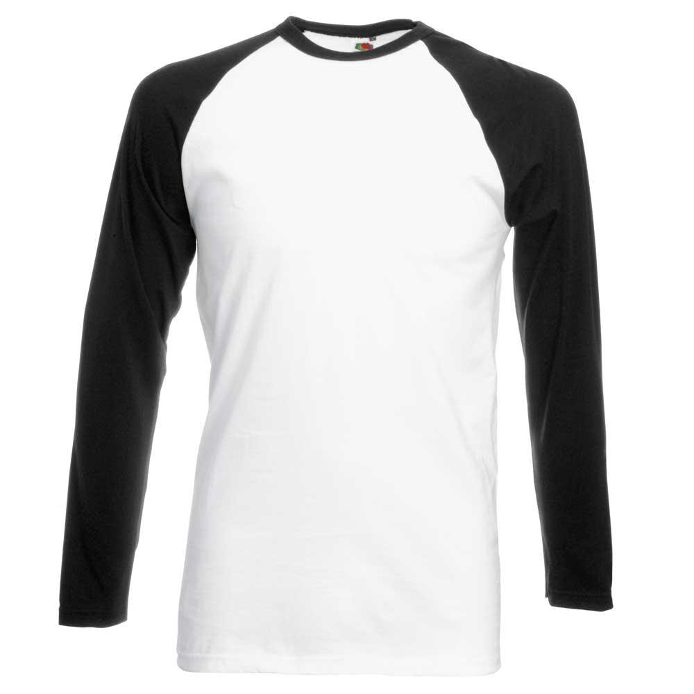 (フルーツオブザルーム) Fruit Of The Loom メンズ 長袖Tシャツ ベースボールTシャツ カットソー 男性用 B004QC2J3Y XL|ホワイト/ブラック ホワイト/ブラック XL