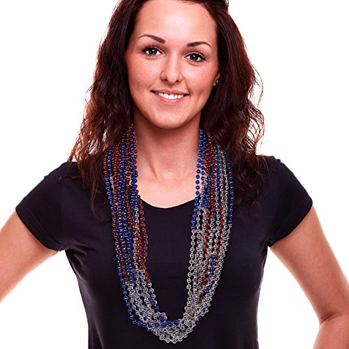 Red, Silver, and Blue Bead Necklaces - 36