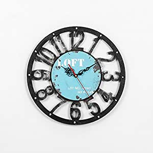 Gk The Living Room Wall Clock 40cm Retro Wall Clock Bar Lounge Creative Simple Blue