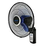 SD LIFE Wall Mount Fan Oscillating 16 Inch 3 Speed Remote Control Indoor Outdoor Black